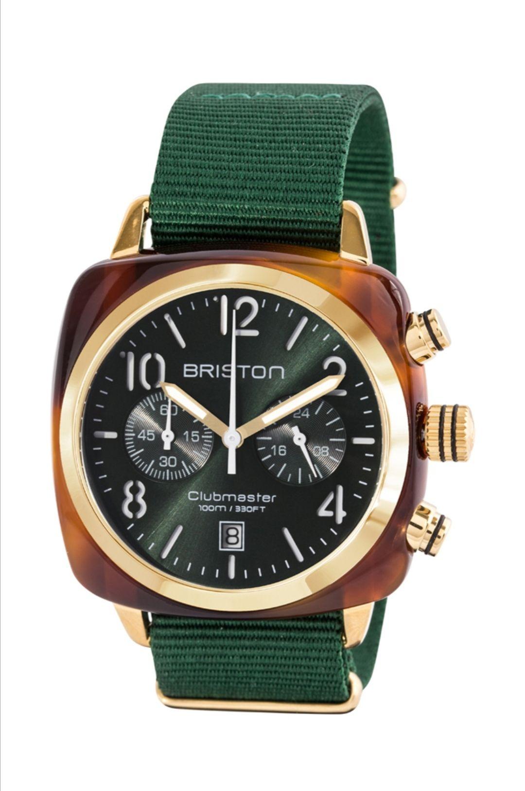 Montre quartz chronographe Briston Clubmaster - Boitier plaqué or jaune & bracelet en nylon