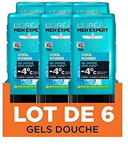 Lot de 6 Gels douche L'Oréal Men Expert Cool Power Fraicheur Extrême (6x 300ml)