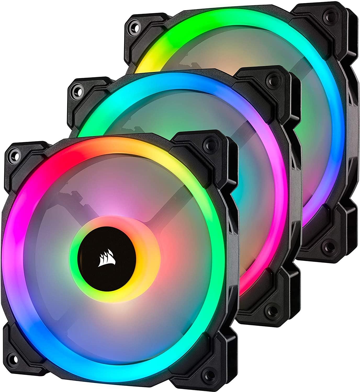 Pack de 3 ventilateurs PC Corsair LL120 Dual Light Loop RGB - 12 cm, Noir avec Contrôleur & Hub Lightning Node Pro