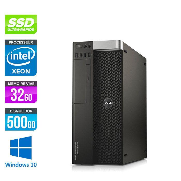 Tour PC Dell Precision 5810 - Intel Xeon E5-1650 V3 3,50GHz, 32 Go RAM, 500Go SSD, Quadro K4200, Windows 10 (Reconditionné)