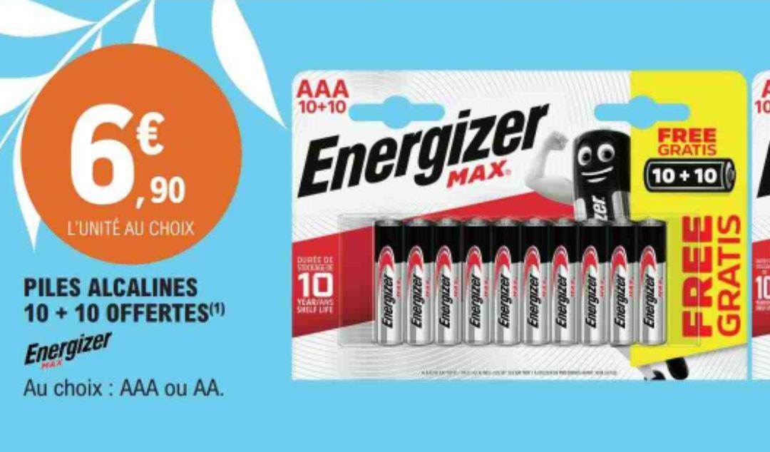 Lot 20 piles alcalines Energizer Max AA ou AAA
