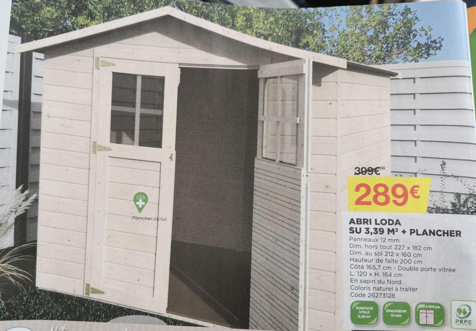 Abri jardin bois Loda 3,39m² + plancher