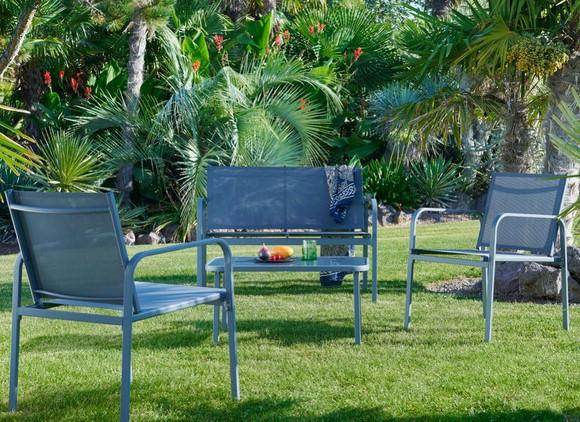 Salon de jardin 4 pièces : 1 canapé, 2 fauteuils et table plateau en verre trempé (GC-11243-SST SE)