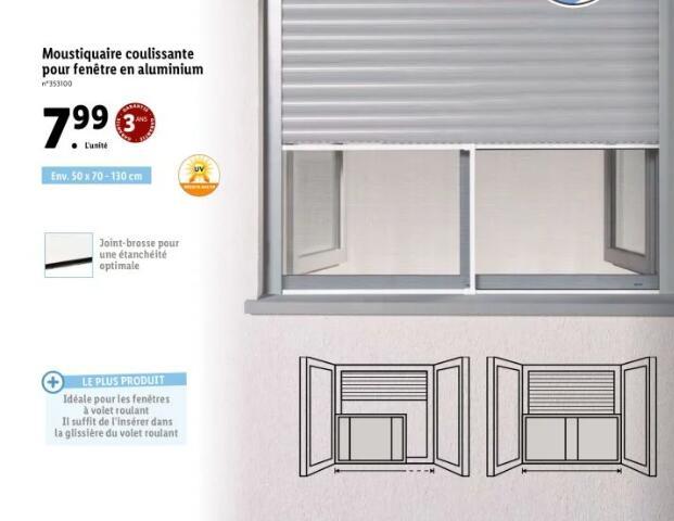 Moustiquaire coulissante pour fenêtre en aluminium