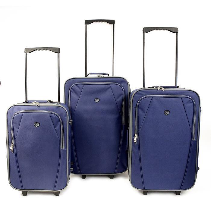 Set de 3 valises souples Kinston Copenhague - Bleu