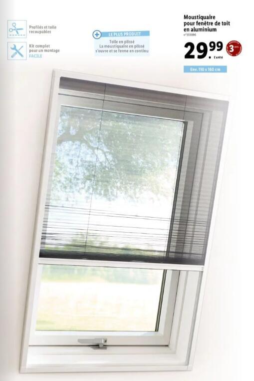 Moustiquaire pour fenêtre de toit en aluminium - 110 x 160 cm