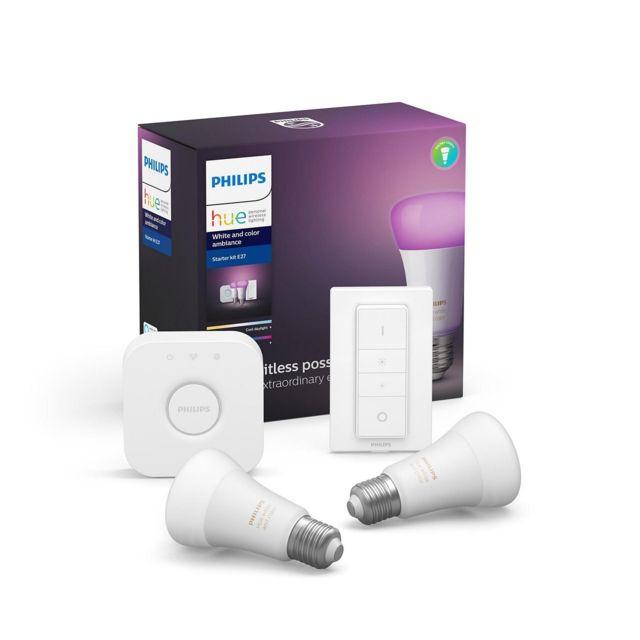 Kit de démarrage Philips Hue: 2 ampoules connectées White and Color Ambiance + Pont + Télécommande