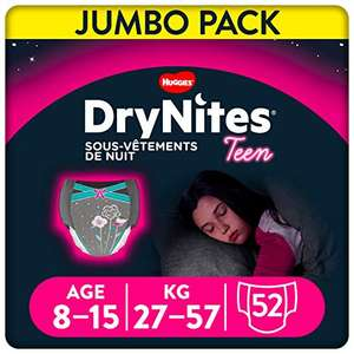 Pack de 52 Sous-vêtements de nuit absorbants jetables Huggies DryNites - 8/15 ans