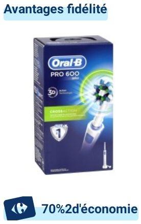Brosse à dents électrique ORAL-B Pro 600 CrossAction (Via 22.75€ sur Carte Fidélité) -
