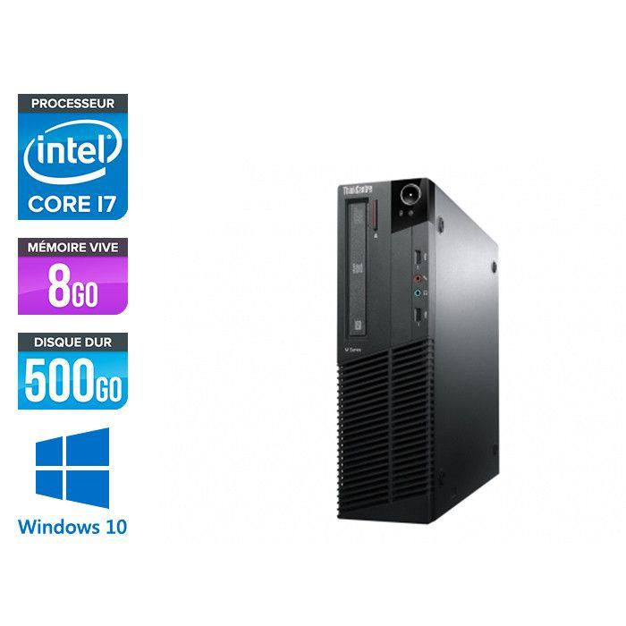PC Bureau Lenovo ThinkCentre M83 SFF - i7-4770, 8 Go RAM DDR3, HDD 500Go, Gigabit LAN, Windows 10 (Reconditionné)