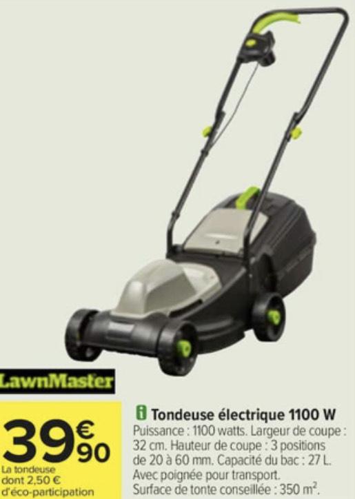 Tondeuse à gazon électrique LawnMaster - Largeur de coupe 32cm, 1100W
