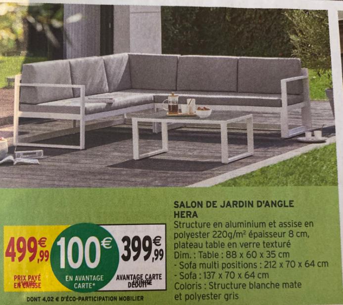Salon de jardin d'angle Hera - Aluminium/Polyester (Via 100€ sur Carte Fidélité)