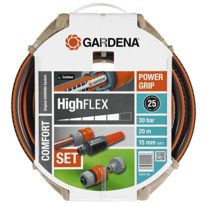 Tuyau d'arrosage Gardena HighFlex - 20m, Ø15 mm + lance et accessoires (via ODR de 6.99€)