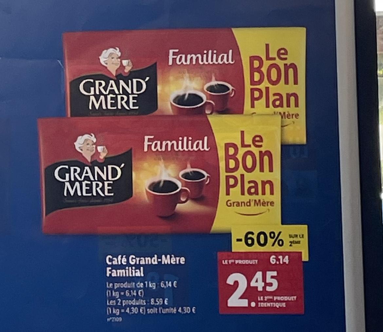 Lot de 2 paquets de 1 kg de café moulu Familial Grand Mère (2 kg)