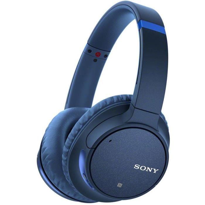 Casque audio Sans Fil à Réduction de Bruit active Sony WH-CH700NL - Bluetooth 5.0, 35 heures d'autonomie (Bleu et Blanc)