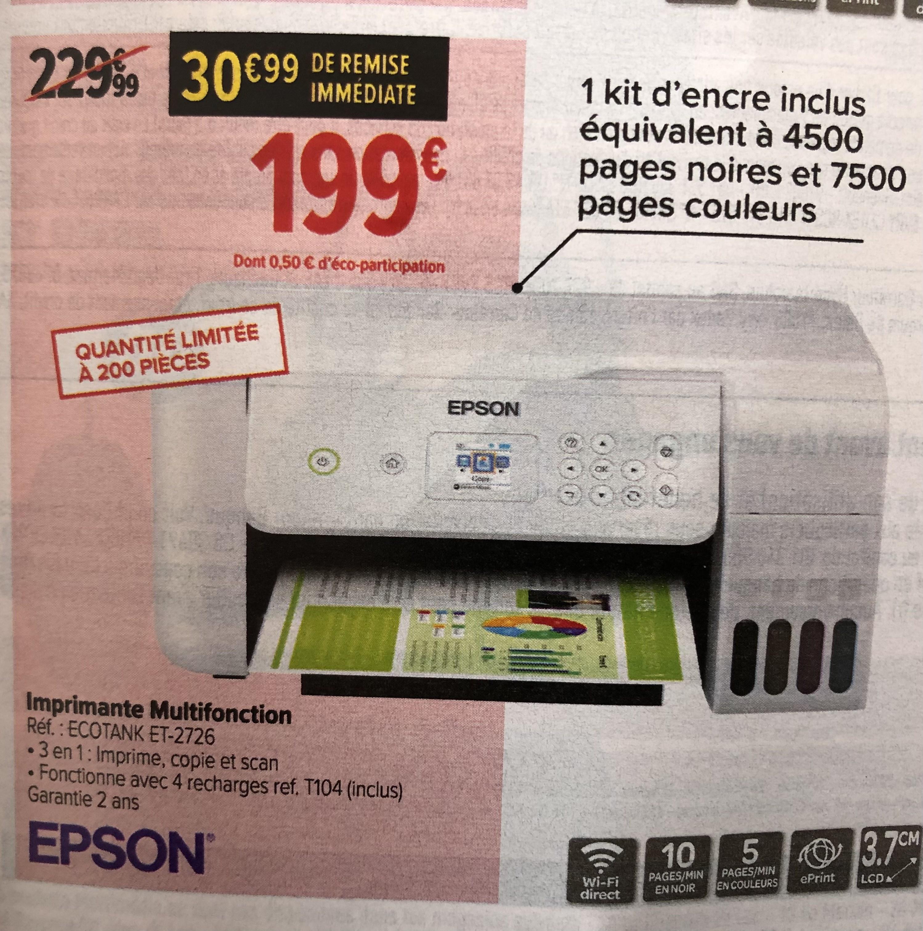Imprimante multifonction Epson Ecotank ET-2726