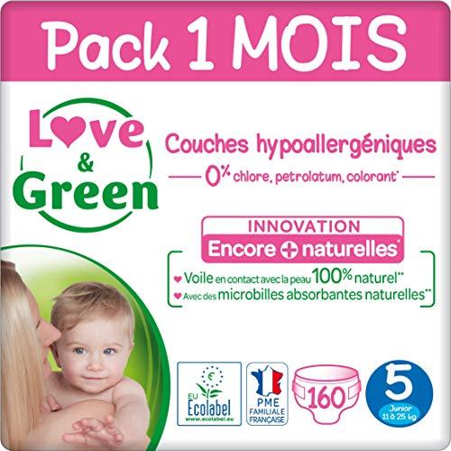 Paquet de 160 couches Love & Green - Taille 5 (11-25 Kg), Pack 1 Mois (via coupon)