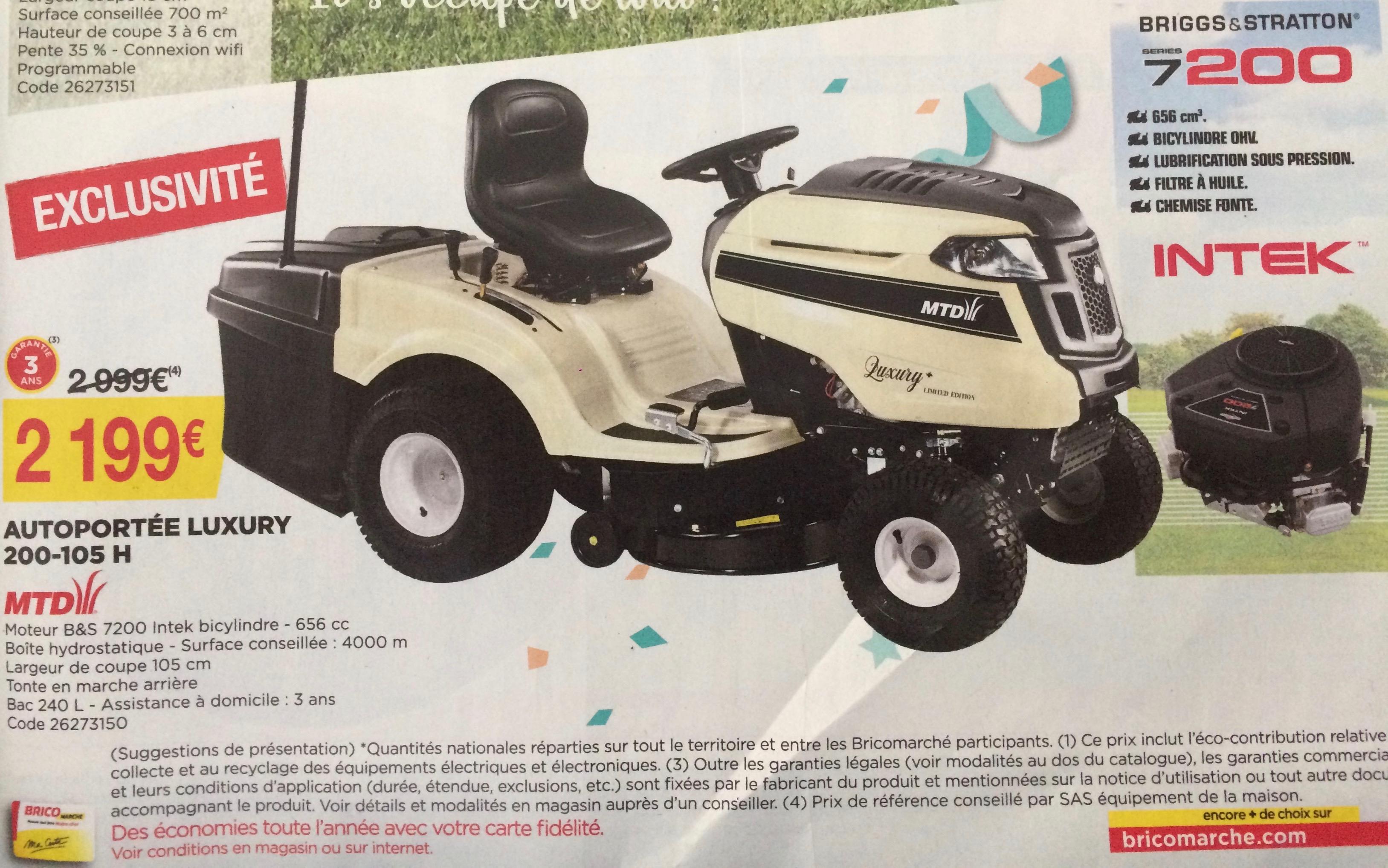 Tondeuse autoportée MTD Luxury 200-105H
