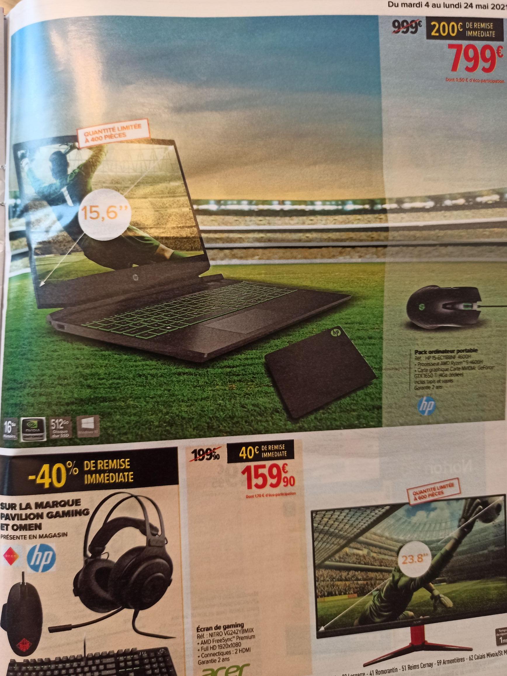 "PC Portable 15"" HP Pavilion Gaming Laptop 15-ec1188nf - Ryzen 5 4600H, 16 Go de Ram, 512 Go SSD, GTX 1650 Ti"
