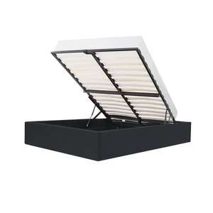 Lit coffre + sommier Eclipse - 140 x 190 cm, simili noir