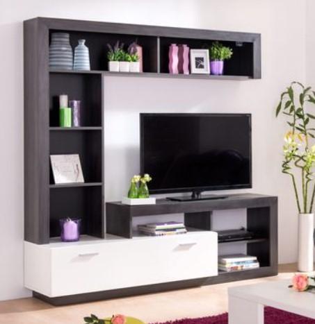 Meuble TV Glen - Blanc et imitation bois noir