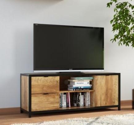 Meuble TV Evergreen - Imitation chêne et noir