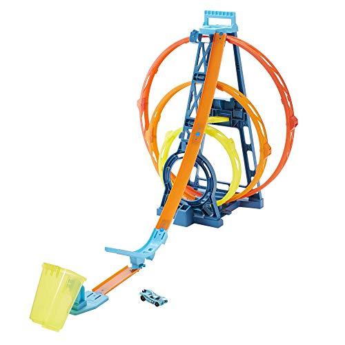 Circuit Hot Wheels Track Builder Triple Looping Modulable - 1 lanceur, 1 véhicule et 1 cible inclus