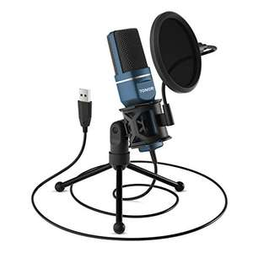 Microphone USB à condensateur Tonor pour PC avec Trépied et Filtre Anti-Pop (vendeur tiers)