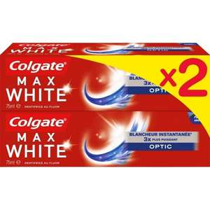 2 Lots de 2 dentifrice Colgate Max White - Optic, One ou au charbon actif (4x75ml)