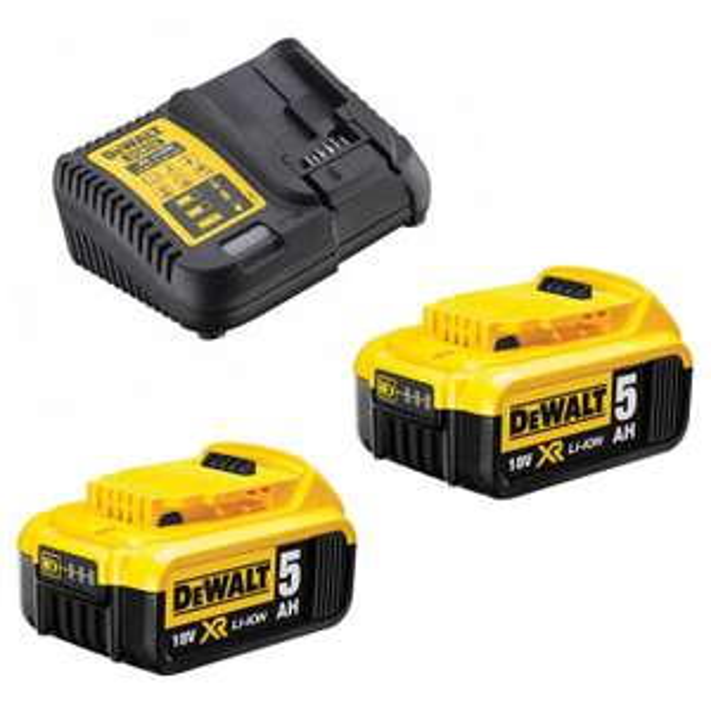 Pack de 2 Batteries Dewalt 18V XR LI-Ion 5,0AH + Chargeur XR Multivoltage DCB115P2 (Via ODR de 50€)