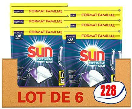 6 Packs de 38 tablettes lave-vaisselle Sun Optimum
