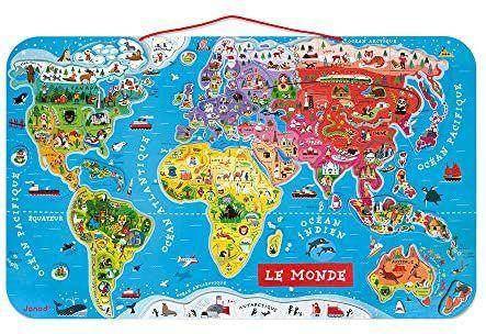 Puzzle Carte du Monde Magnétique en Bois Janod - 92 Pièces