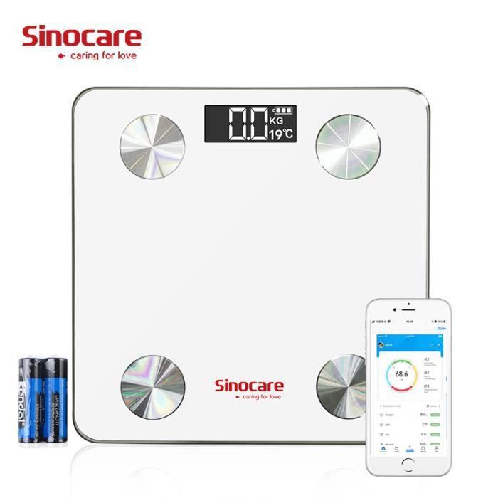 Balance connectée Sinocare - Bluetooth, max 180kg, précision 0.1kg (vendeur tiers)
