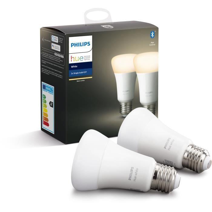 Pack de 2 ampoules Philips Hue White - 9,5 W, E27, Bluetooth