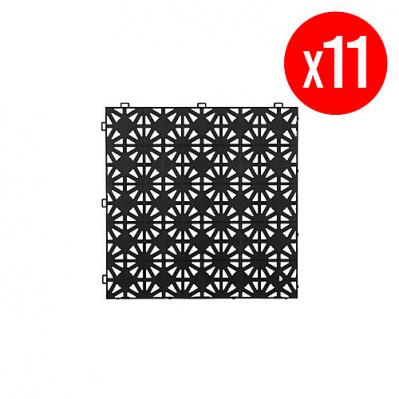 Pack de 11 dalles en polypoprylène Hestra - 1 m², Noir (30cm x 30 cm x 12mm)