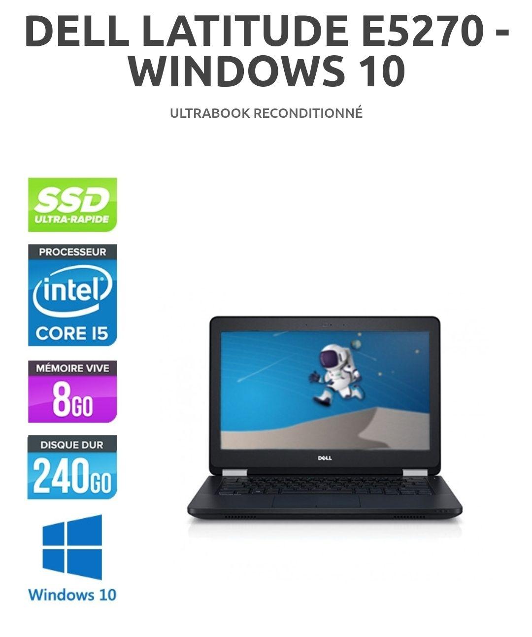 """PC Portable 12.5"""" Dell Latitude E5270 - i5-6300U, 8Go RAM DDR4, 240Go SSD, HD LED, WiFi, Windows 10 (Reconditionné)"""