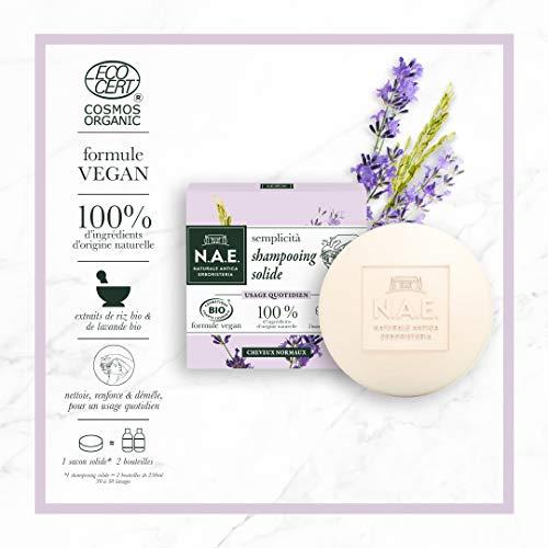 Shampooing Solide Certifié Bio N.A.E. - Usage Quotidien Cheveux Normaux, 85 g