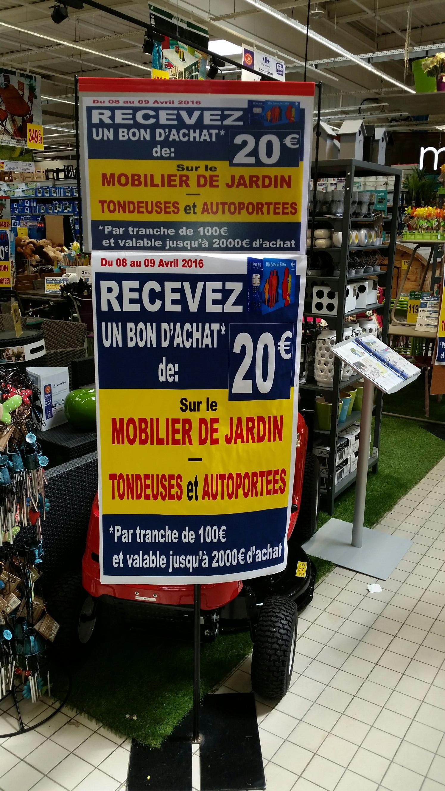 20€ offerts en bon d'achat par tranche de 100€ sur le Mobilier de jardin et les Tondeuses