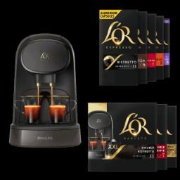 Cafetière à capsules Philips L'Or Barista + 100 capsules de café L'Or Espresso