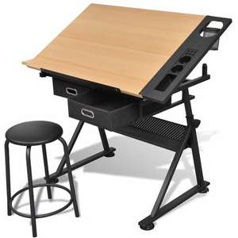 Table à dessin inclinable 2 tiroirs et tabouret VidalXL (+ 8.20€ en Rakuten Points)