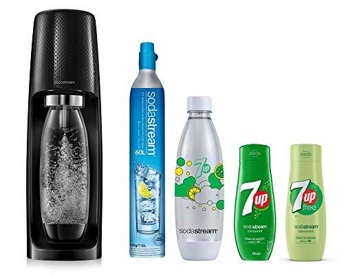 Pack Sodastream : machine à gazéifier Spirit (noire) + une bouteille 1L + une bouteille Fuse 7Up et 2 concentrés 7UP