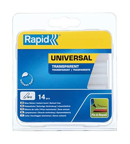 Bâtons de colle thermofusible Rapid 40107356 - Multi-usage, Transparent, ø12mm, Longueur 93mm