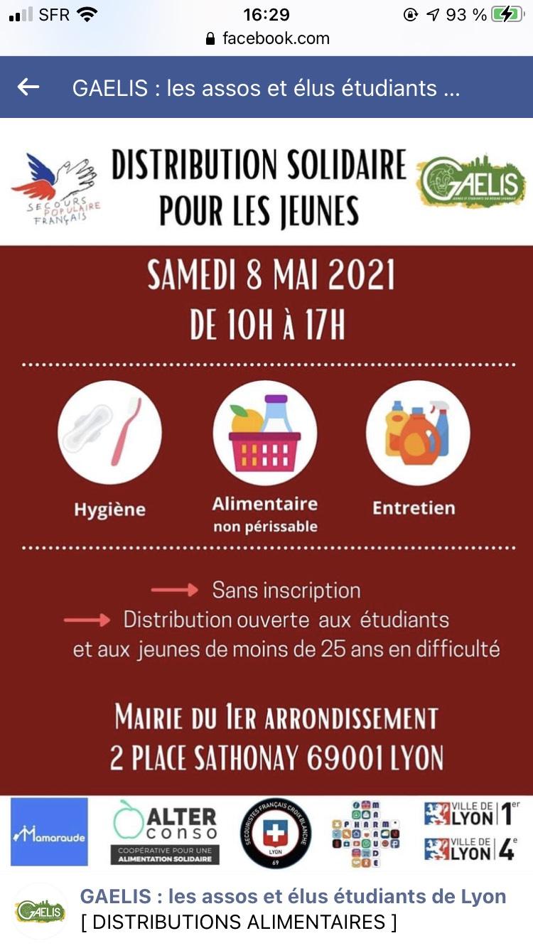 [Etudiants et moins de 25 ans] Distribution gratuite de produits alimentaire et d'hygiène - Lyon (69)