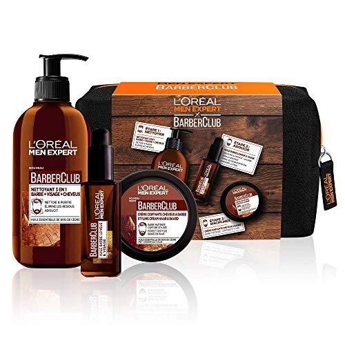 Trousse 3 Produits de Soin l'Oréal Men Expert Barber Club pour Barbe & Visage : Nettoyant 3-en-1 + Huile Barbe Longue + Crème Coiffante