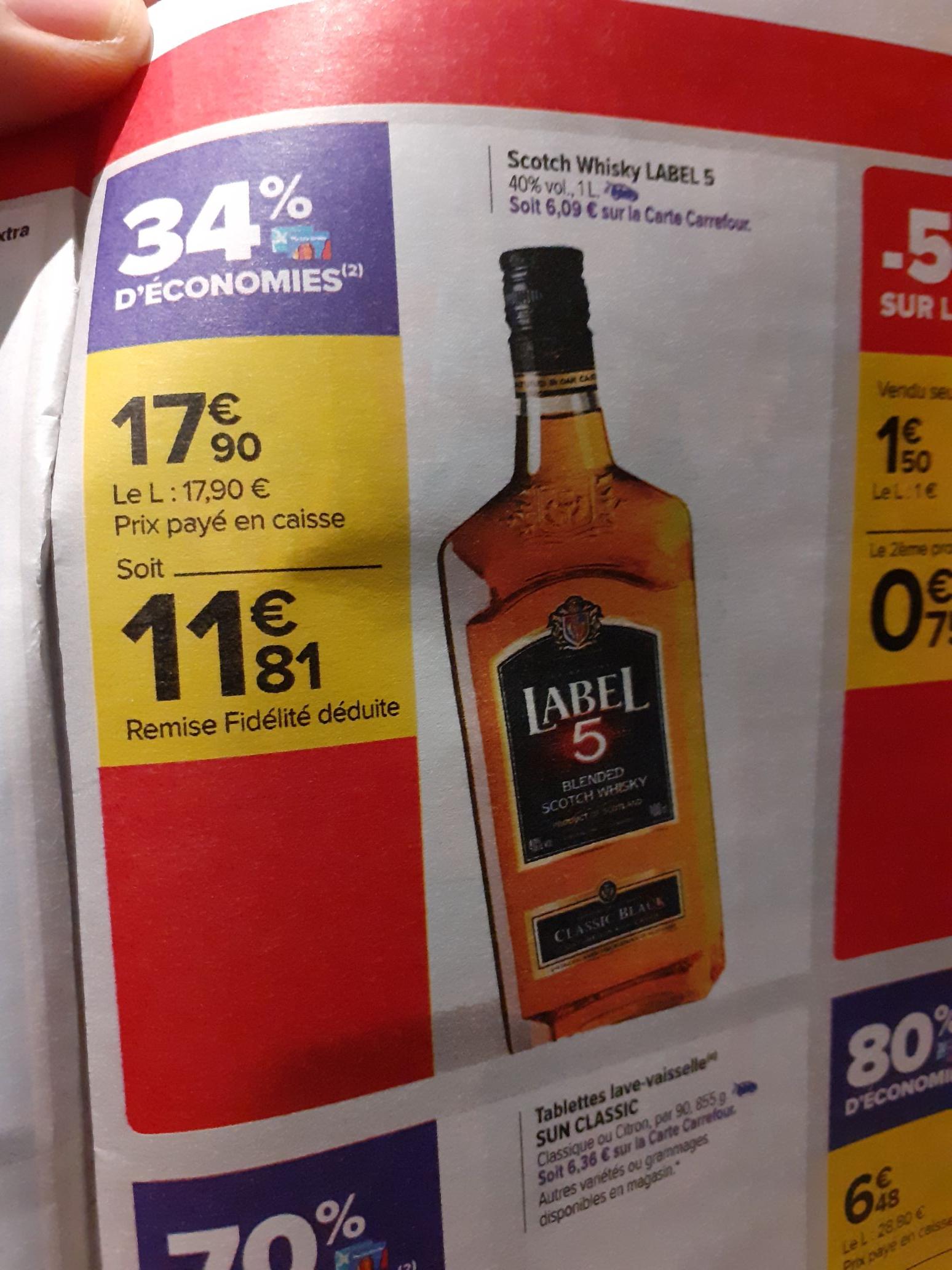 Bouteille de Whisky label 5 (via 6.09€ fidélité)