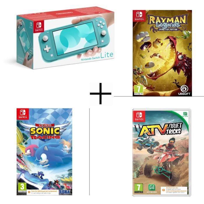 Pack Console Nintendo Switch Lite Turquoise + 3 jeux Rayman Legends, Team Sonic Racing, ATV Drift & Tricks