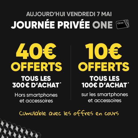 [Adhérents Fnac One] 40€ en chèques cadeaux tous les 300€ d'achat (ou 10€ tous les 100€ pour les smartphones)