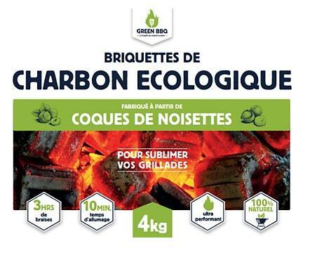 Charbon de bois écologique Greenbbq noyaux d'olives - 4kg