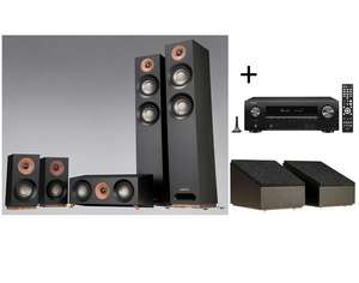 Pack ampli Home Cinema Denon AVR-X160H DAB + Pack d'enceintes Jamo S807HCS + Enceintes Dolby Atmos S8ATM - Black