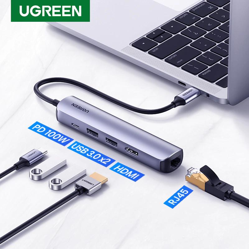 Hub USB-C 5 en 1 Ugreen - 2 Ports USB A 3.0, 1 HDMI, 1 Port RJ45, PD 100W
